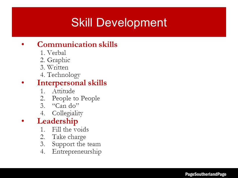 Skill Development Communication skills 1. Verbal 2. Graphic 3. Written 4. Technology Interpersonal skills 1.Attitude 2.People to People 3.Can do 4.Col