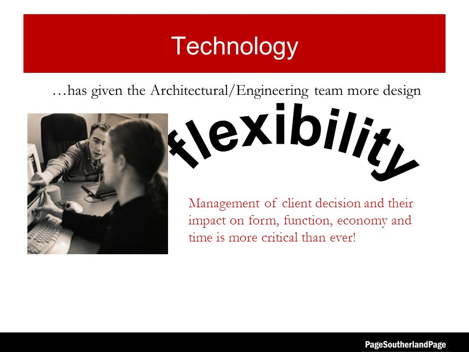 Technology Management of client decision and their impact on form, function, economy and time is more critical than ever! …has given the Architectural