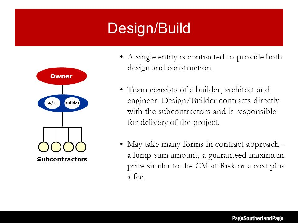 Design/Build A single entity is contracted to provide both design and construction. Team consists of a builder, architect and engineer. Design/Builder