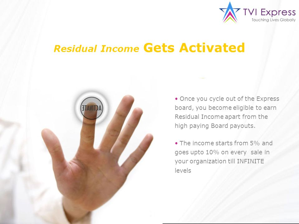 Residual Income Gets Activated Once you cycle out of the Express board, you become eligible to earn Residual Income apart from the high paying Board p