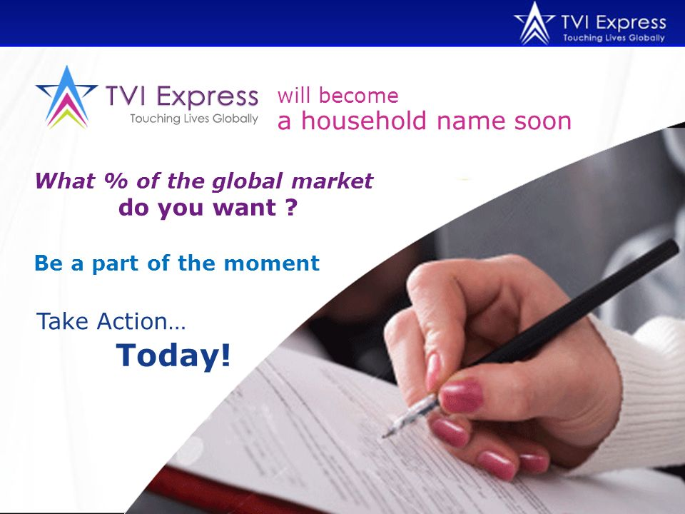 will become What % of the global market do you want ? Be a part of the moment Take Action… Today! a household name soon