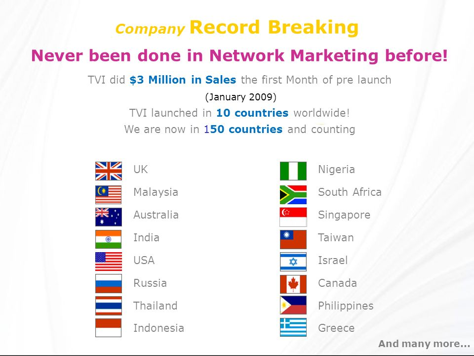 Company Record Breaking Never been done in Network Marketing before! TVI did $3 Million in Sales the first Month of pre launch (January 2009) TVI laun