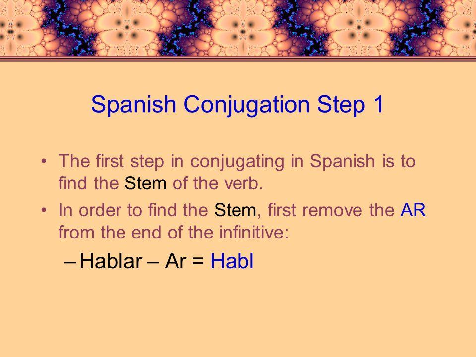 Spanish Conjugation Step 2 The second step is to bring the stem down to each pronoun: Yohabl Túhabl Él, Ella, Ud.