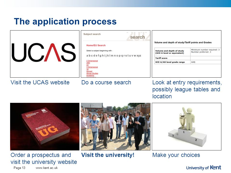 The application process Page 13 Visit the UCAS websiteDo a course searchLook at entry requirements, possibly league tables and location Order a prospe