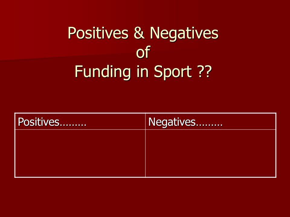 Positives & Negatives of Funding in Sport ?? Positives………Negatives………