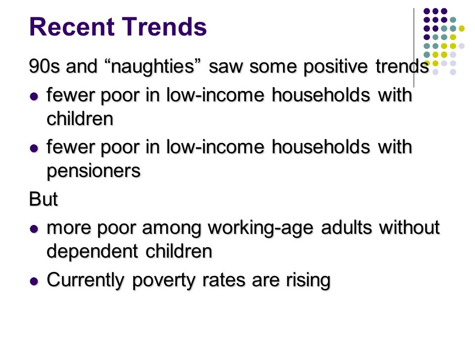 Recent Trends 90s and naughties saw some positive trends fewer poor in low-income households with children fewer poor in low-income households with children fewer poor in low-income households with pensioners fewer poor in low-income households with pensionersBut more poor among working-age adults without dependent children more poor among working-age adults without dependent children Currently poverty rates are rising Currently poverty rates are rising
