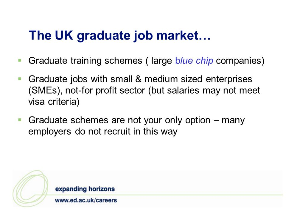 The UK graduate job market… Graduate training schemes ( large blue chip companies) Graduate jobs with small & medium sized enterprises (SMEs), not-for profit sector (but salaries may not meet visa criteria) Graduate schemes are not your only option – many employers do not recruit in this way