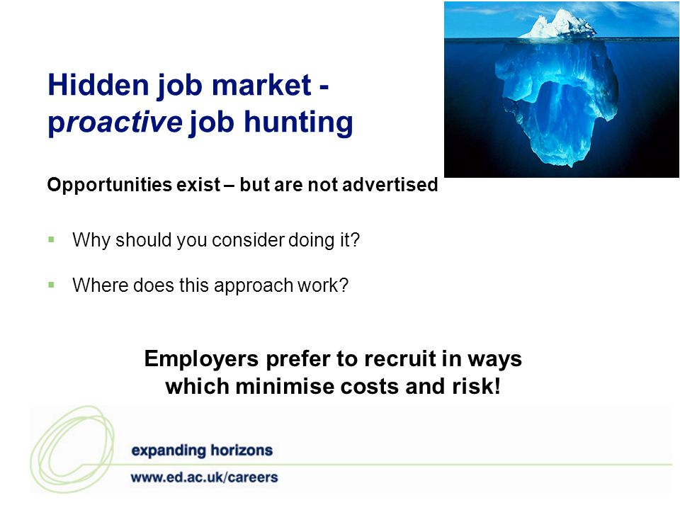 Hidden job market - proactive job hunting Why should you consider doing it? Where does this approach work? Opportunities exist – but are not advertise