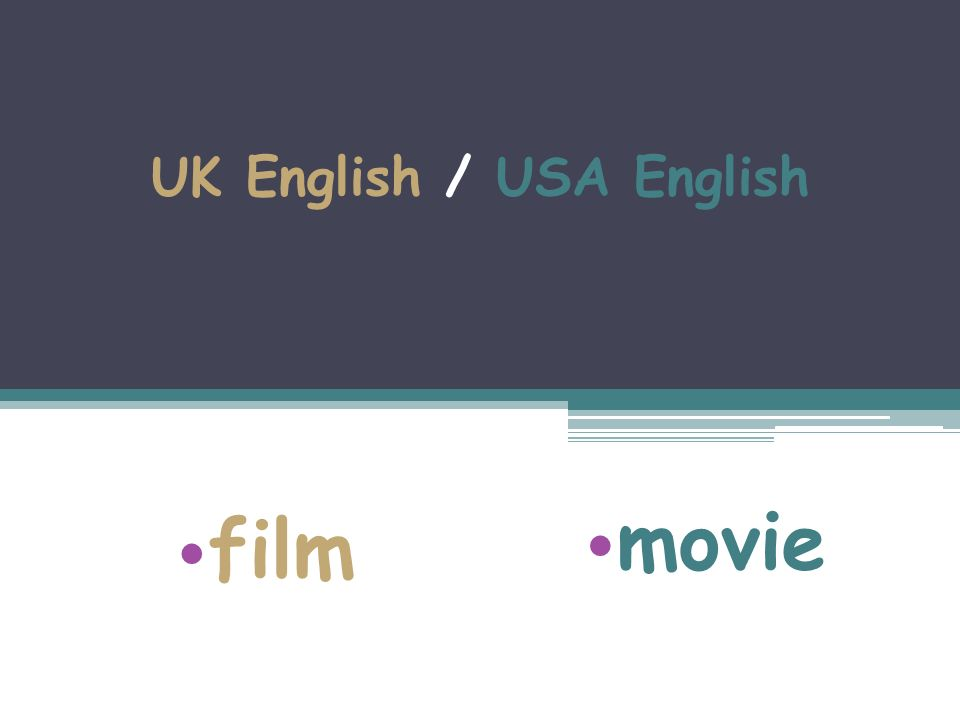 UK English / USA English film movie