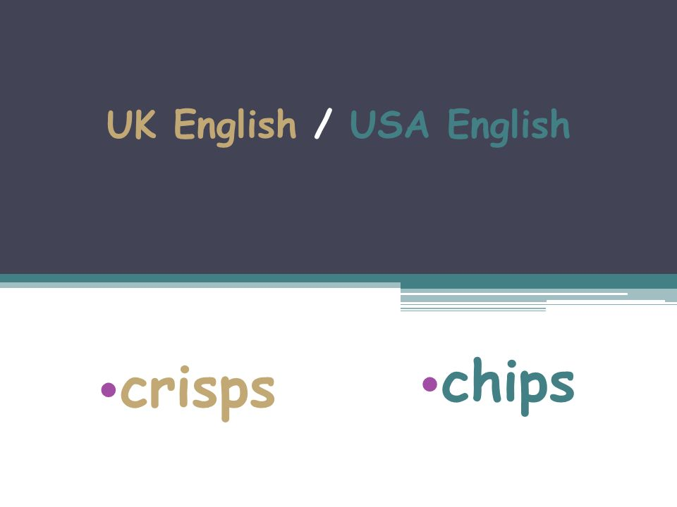 UK English / USA English crisps chips