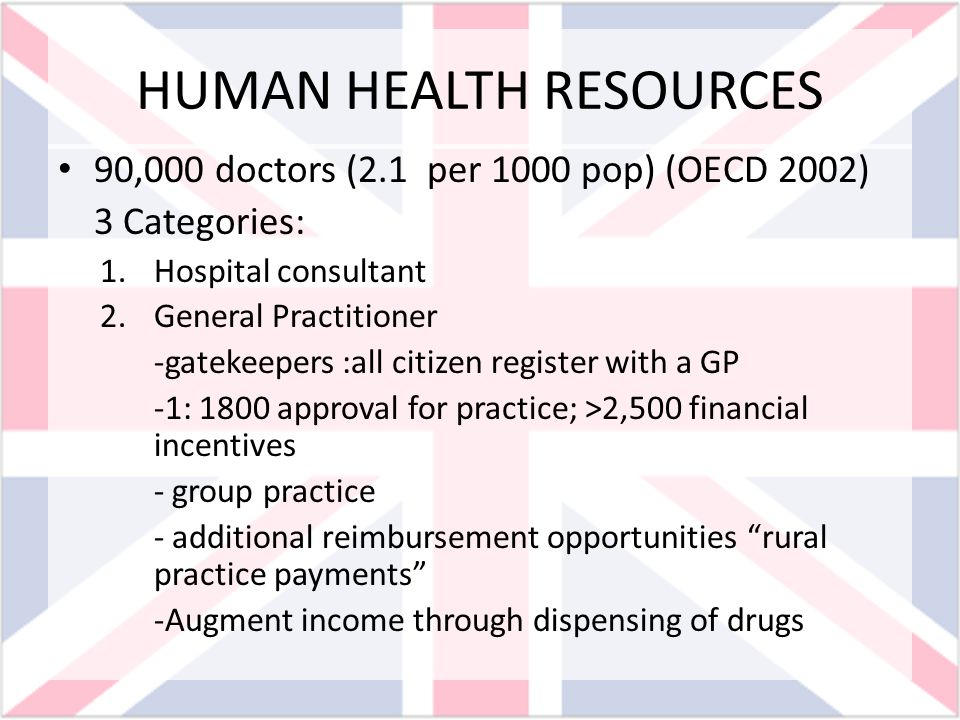 HUMAN HEALTH RESOURCES 90,000 doctors (2.1 per 1000 pop) (OECD 2002) 3 Categories: 1.Hospital consultant 2.General Practitioner -gatekeepers :all citi