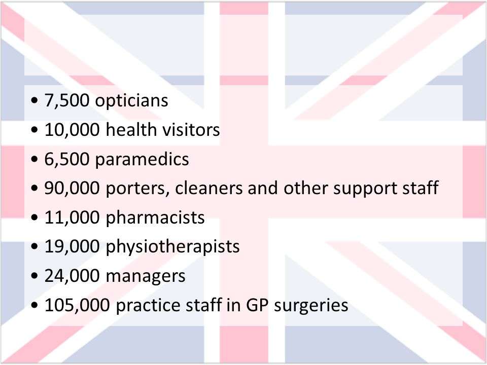 7,500 opticians 10,000 health visitors 6,500 paramedics 90,000 porters, cleaners and other support staff 11,000 pharmacists 19,000 physiotherapists 24