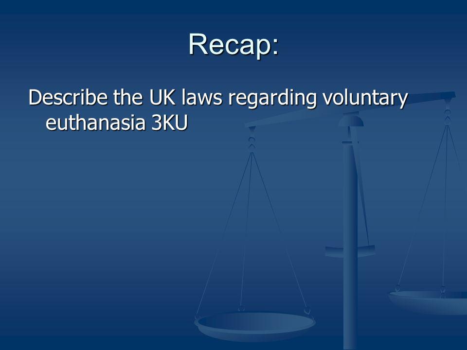 Recap: Describe the UK laws regarding voluntary euthanasia 3KU