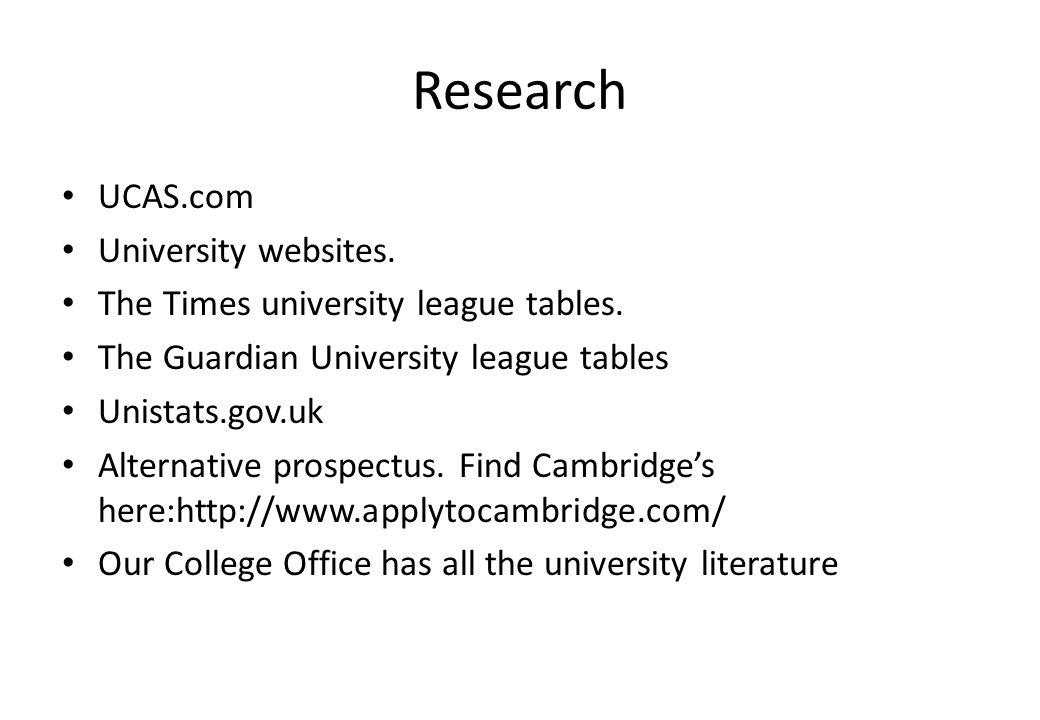Research UCAS.com University websites. The Times university league tables. The Guardian University league tables Unistats.gov.uk Alternative prospectu