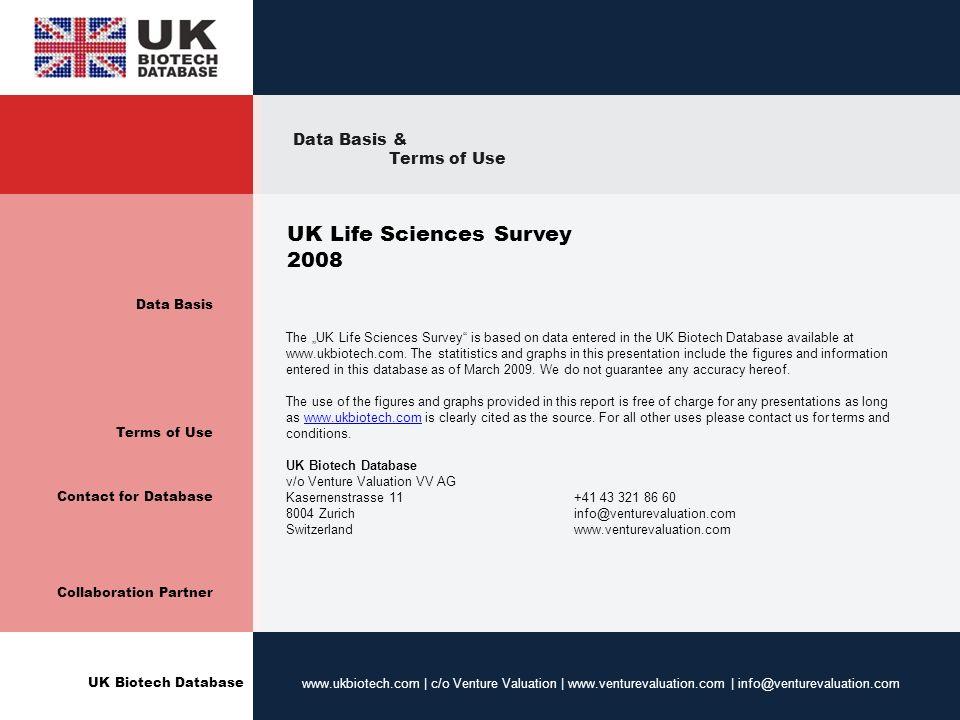 UK Biotech Database www.ukbiotech.com | c/o Venture Valuation | www.venturevaluation.com | info@venturevaluation.com Data Basis Terms of Use Contact f