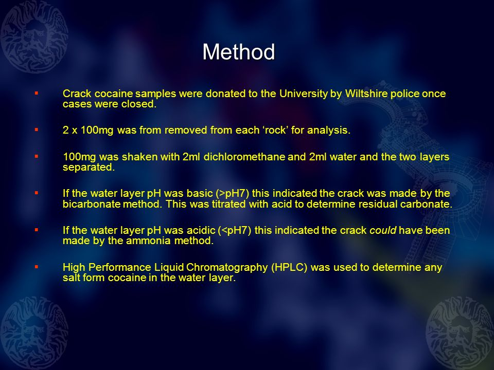 Summary The analysis concurred with the user reports that Swindon crack was of low quality; 20% of cases contained no cocaine.