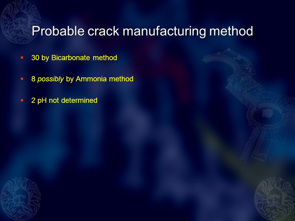 Probable crack manufacturing method 30 by Bicarbonate method 8 possibly by Ammonia method 2 pH not determined