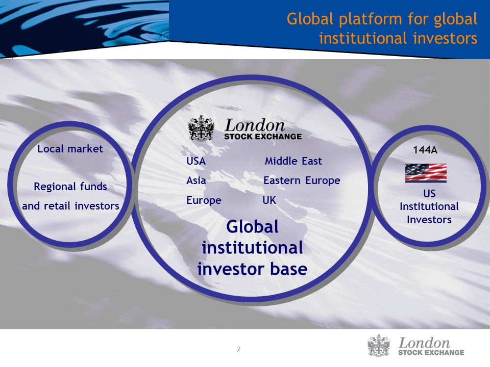2 Global platform for global institutional investors Global institutional investor base Local market US Institutional Investors 144A Regional funds and retail investors USA Middle East Asia Eastern Europe Europe UK