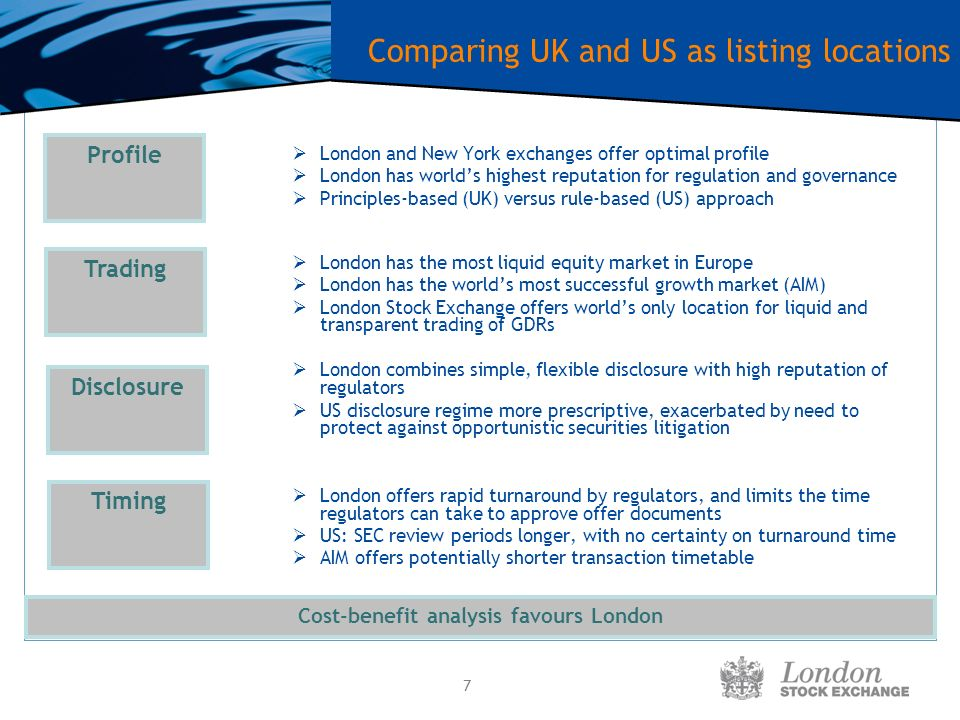 7 Comparing UK and US as listing locations London and New York exchanges offer optimal profile London has worlds highest reputation for regulation and governance Principles-based (UK) versus rule-based (US) approach London has the most liquid equity market in Europe London has the worlds most successful growth market (AIM) London Stock Exchange offers worlds only location for liquid and transparent trading of GDRs London combines simple, flexible disclosure with high reputation of regulators US disclosure regime more prescriptive, exacerbated by need to protect against opportunistic securities litigation London offers rapid turnaround by regulators, and limits the time regulators can take to approve offer documents US: SEC review periods longer, with no certainty on turnaround time AIM offers potentially shorter transaction timetable Timing Disclosure Trading Cost-benefit analysis favours London Profile