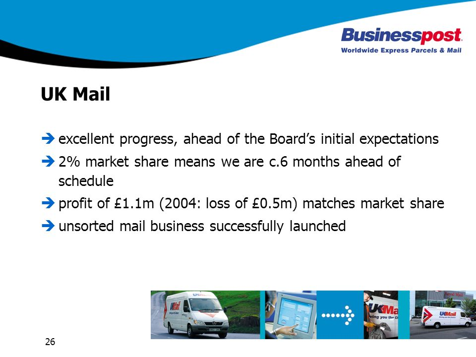 26 UK Mail excellent progress, ahead of the Boards initial expectations 2% market share means we are c.6 months ahead of schedule profit of £1.1m (200