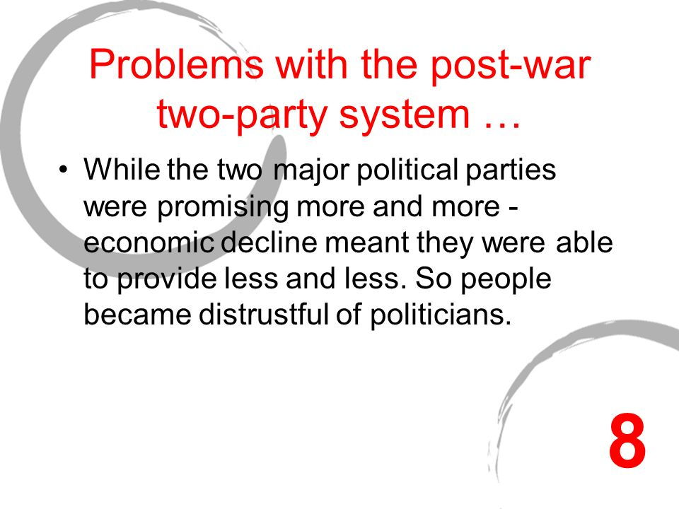 Problems with the post-war two-party system … While the two major political parties were promising more and more - economic decline meant they were able to provide less and less.