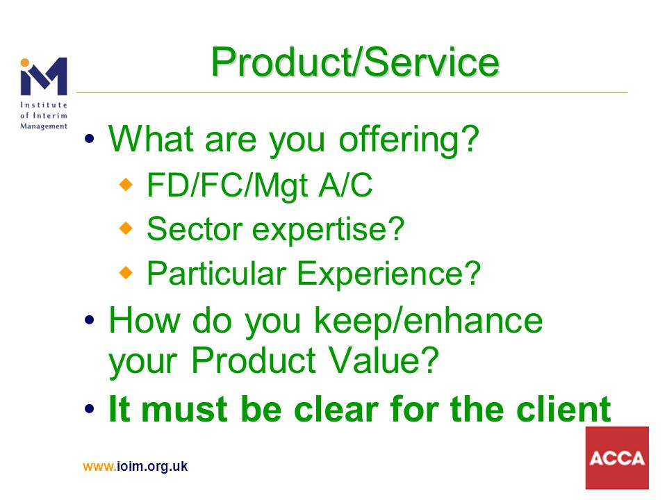 Product/Service What are you offering.