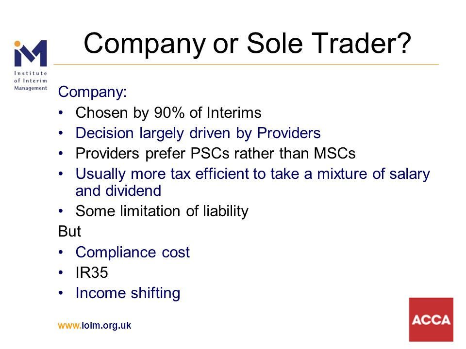 www.ioim.org.uk Company or Sole Trader.