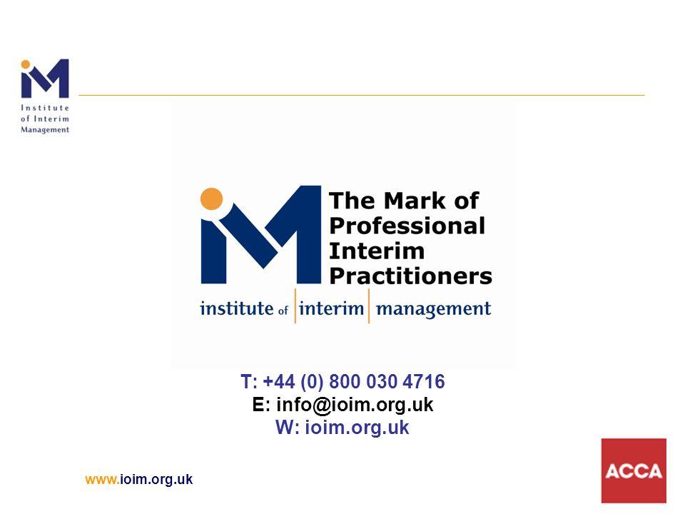 www.ioim.org.uk T: +44 (0) 800 030 4716 E: info@ioim.org.uk W: ioim.org.uk