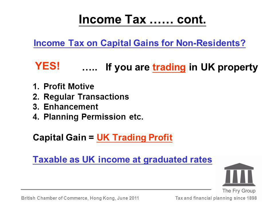 Tax and financial planning since 1898British Chamber of Commerce, Hong Kong, June 2011 Income Tax …… cont.