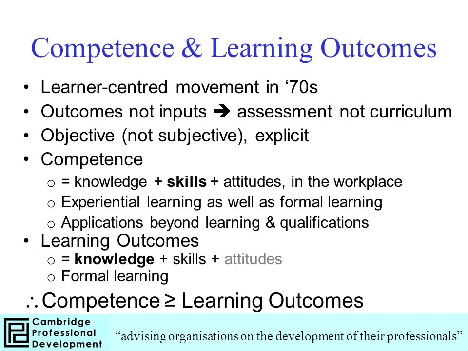 Competence & Learning Outcomes Learner-centred movement in 70s Outcomes not inputs assessment not curriculum Objective (not subjective), explicit Competence o = knowledge + skills + attitudes, in the workplace o Experiential learning as well as formal learning o Applications beyond learning & qualifications Learning Outcomes o = knowledge + skills + attitudes o Formal learning Competence Learning Outcomes advising organisations on the development of their professionals