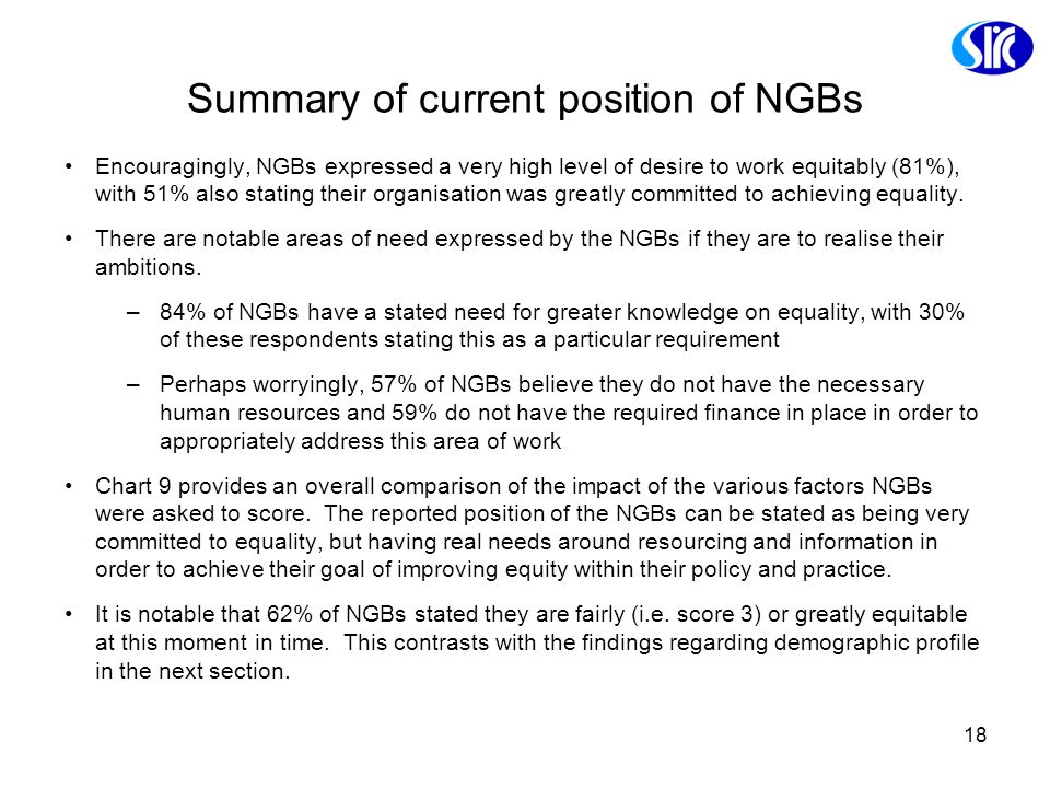 18 Summary of current position of NGBs Encouragingly, NGBs expressed a very high level of desire to work equitably (81%), with 51% also stating their