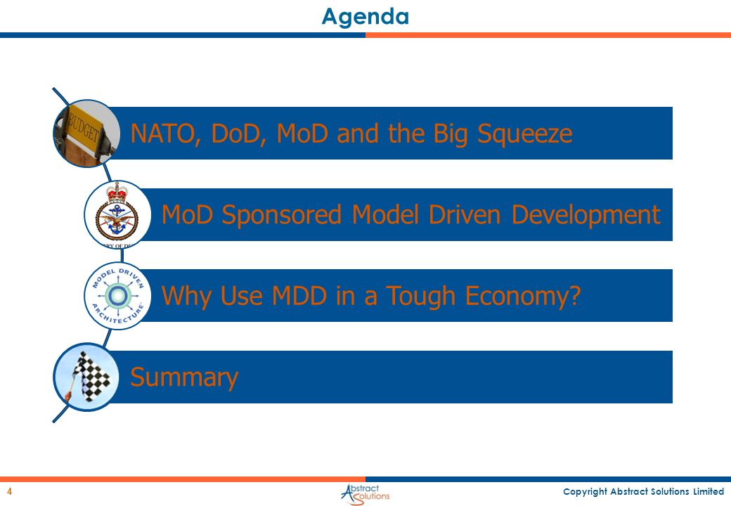 Copyright Abstract Solutions Limited 4 Agenda NATO, DoD, MoD and the Big Squeeze MoD Sponsored Model Driven Development Why Use MDD in a Tough Economy