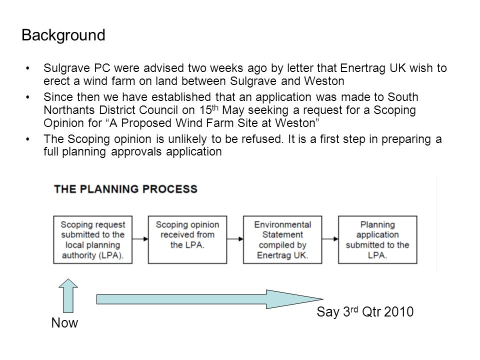 Background Sulgrave PC were advised two weeks ago by letter that Enertrag UK wish to erect a wind farm on land between Sulgrave and Weston Since then