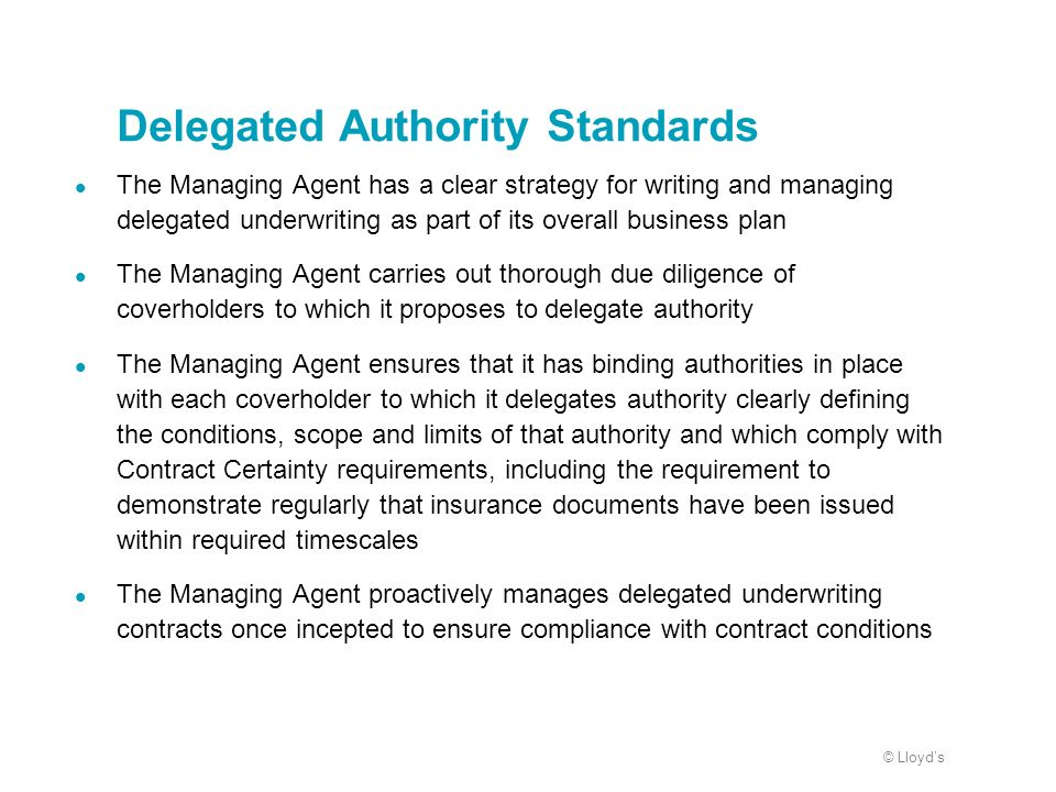© Lloyds Delegated Authority Standards The Managing Agent has a clear strategy for writing and managing delegated underwriting as part of its overall