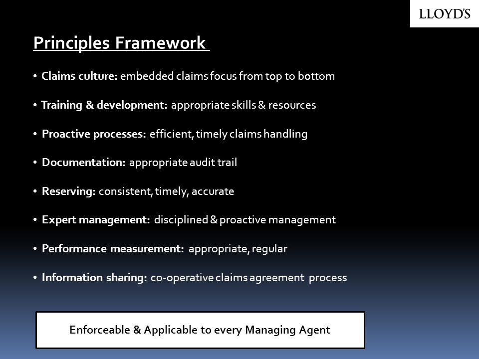 Claims culture: embedded claims focus from top to bottom Training & development: appropriate skills & resources Proactive processes: efficient, timely