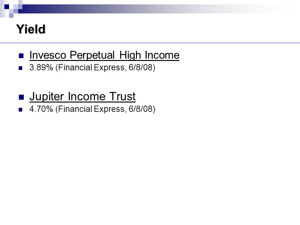 Yield Invesco Perpetual High Income 3.89% (Financial Express, 6/8/08) Jupiter Income Trust 4.70% (Financial Express, 6/8/08)