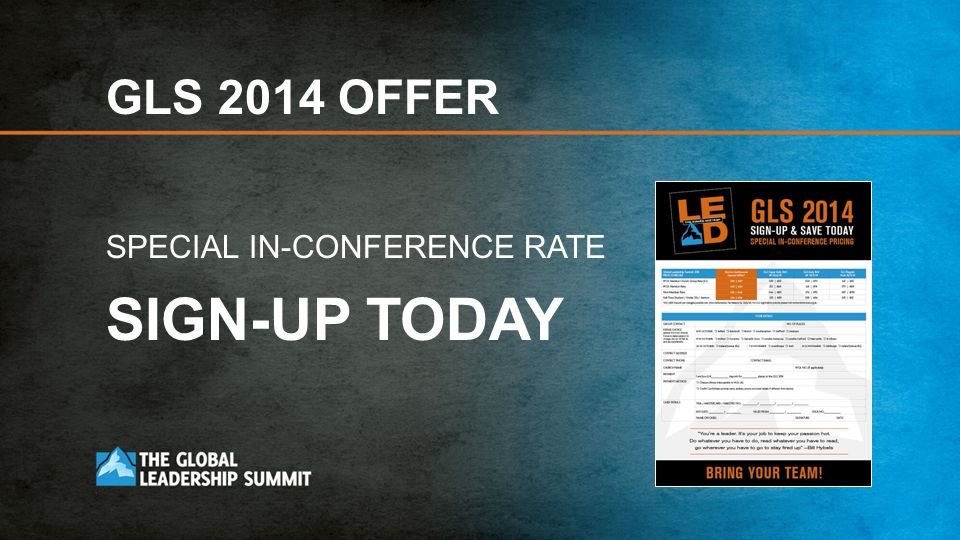 GLS 2014 OFFER SPECIAL IN-CONFERENCE RATE SIGN-UP TODAY
