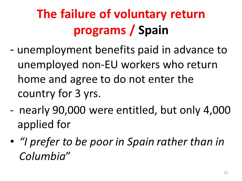 The failure of voluntary return programs / Spain - unemployment benefits paid in advance to unemployed non-EU workers who return home and agree to do not enter the country for 3 yrs.