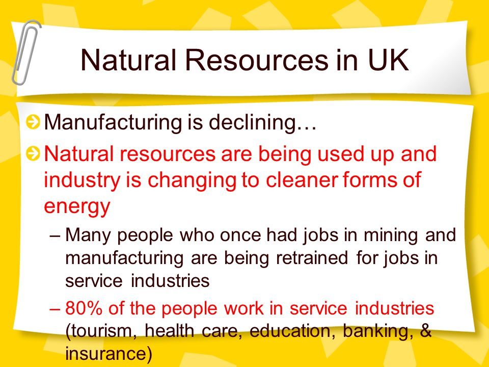 Natural Resources in UK Manufacturing is declining… Natural resources are being used up and industry is changing to cleaner forms of energy –Many peop