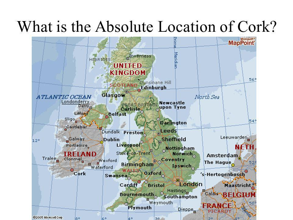 What is the Absolute Location of Cork?