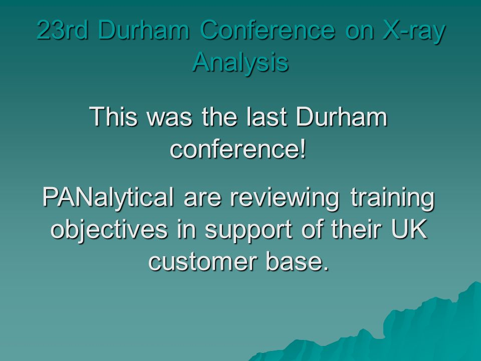 23rd Durham Conference on X-ray Analysis This was the last Durham conference.