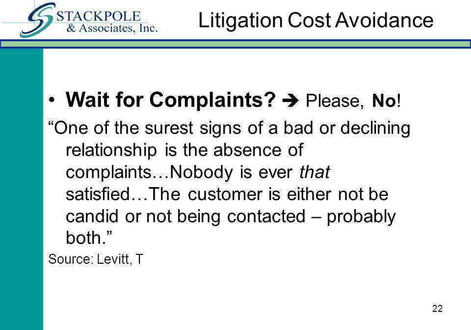 22 Wait for Complaints? Please, No! One of the surest signs of a bad or declining relationship is the absence of complaints…Nobody is ever that satisf