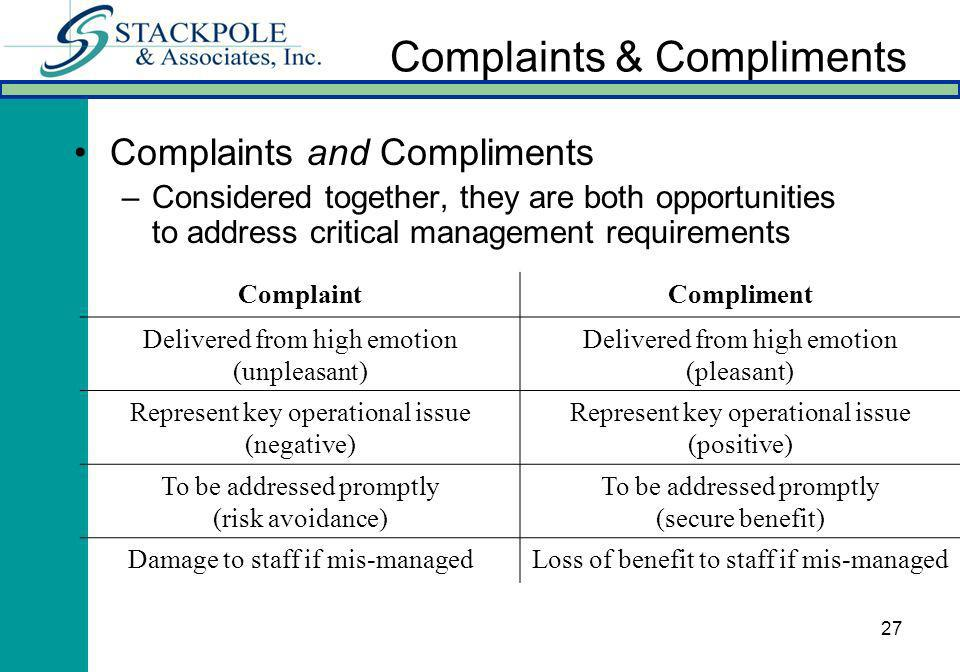 27 Complaints & Compliments Complaints and Compliments –Considered together, they are both opportunities to address critical management requirements C