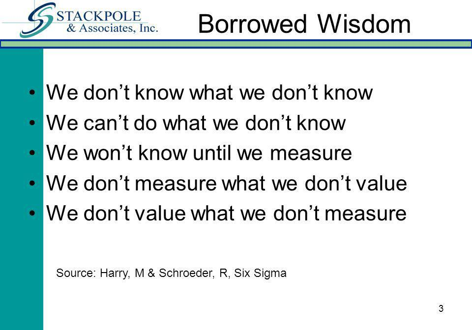 3 Borrowed Wisdom We dont know what we dont know We cant do what we dont know We wont know until we measure We dont measure what we dont value We dont