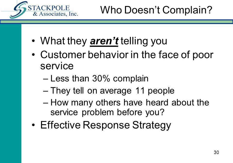 30 What they arent telling you Customer behavior in the face of poor service –Less than 30% complain –They tell on average 11 people –How many others
