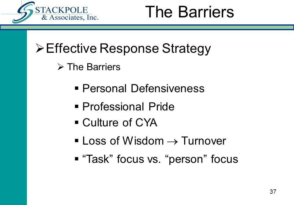 37 Effective Response Strategy The Barriers Personal Defensiveness Professional Pride Culture of CYA Loss of Wisdom Turnover Task focus vs.