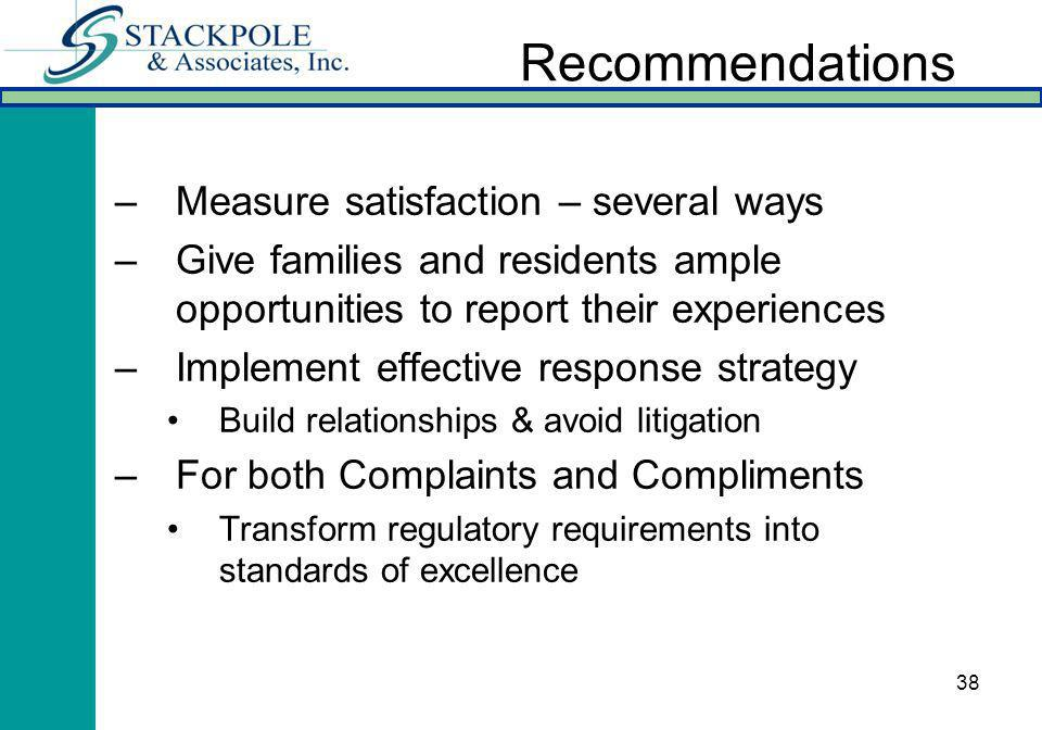 38 Recommendations –Measure satisfaction – several ways –Give families and residents ample opportunities to report their experiences –Implement effective response strategy Build relationships & avoid litigation –For both Complaints and Compliments Transform regulatory requirements into standards of excellence