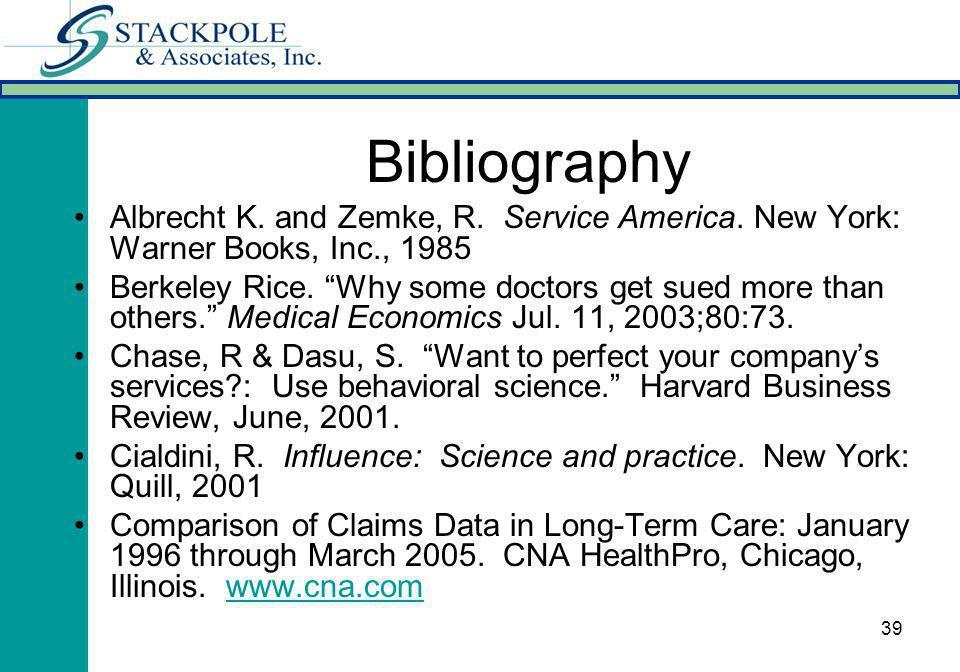 39 Bibliography Albrecht K. and Zemke, R. Service America.