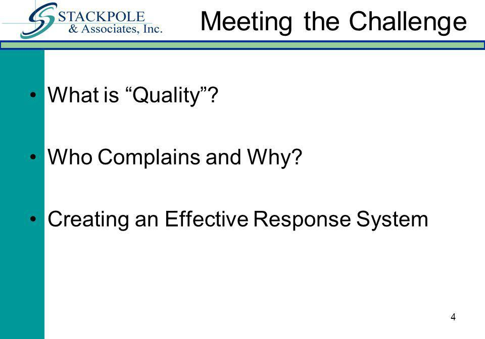 4 What is Quality? Who Complains and Why? Creating an Effective Response System Meeting the Challenge