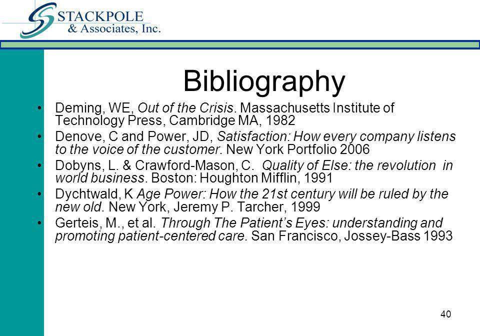 40 Bibliography Deming, WE, Out of the Crisis. Massachusetts Institute of Technology Press, Cambridge MA, 1982 Denove, C and Power, JD, Satisfaction:
